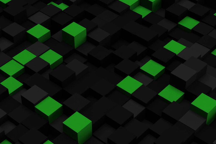 Green and black 3D boxes. Loopable abstract background. 4k UHD (3840x2160)  Motion Background - VideoBlocks