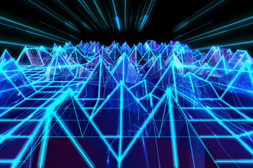 Subscription Library 3D abstract animation of blue triangular sound wave  geometric polygon wireframe terrain moving and bouncing in