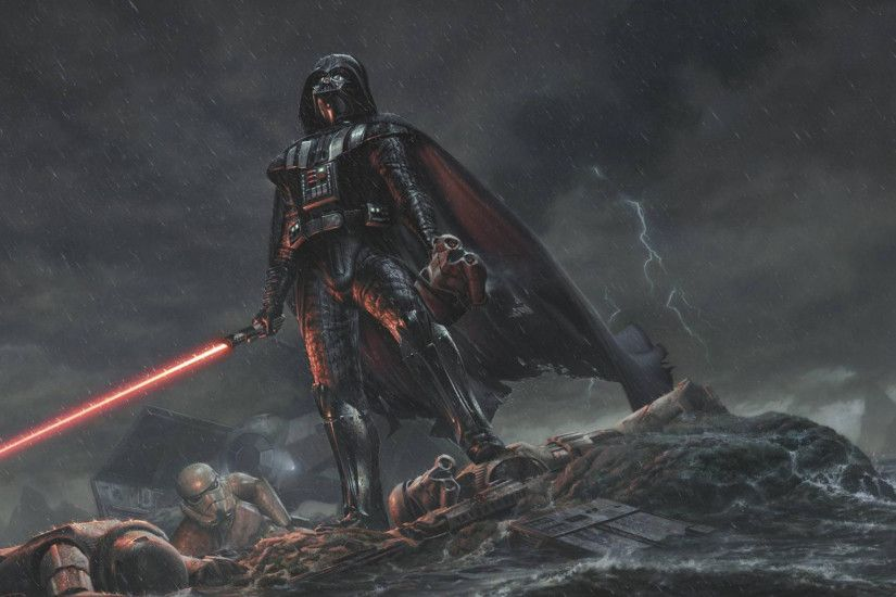 2048x1152 Wallpaper star wars, darth vader, art, rain