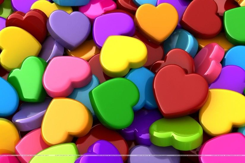 Colorful Hearts Wallpaper HD #ujT