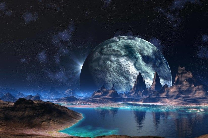 Alien Landscape Planet Stars Lake sci-fi space reflection mountains .