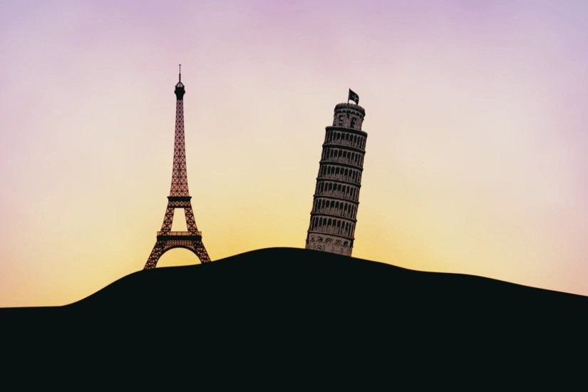 Eiffel Tower And The Leaning Of Pisa Silhouettes ...