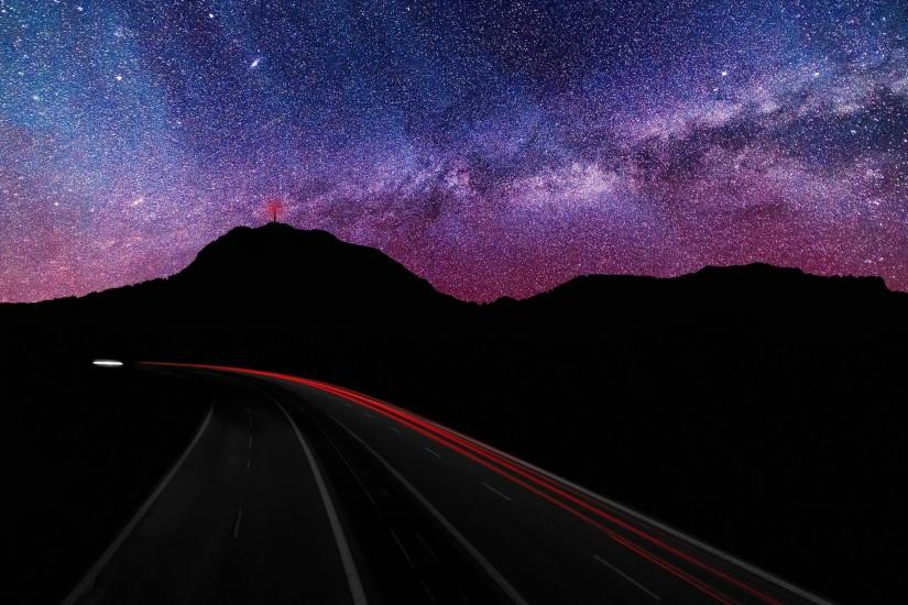 3840x2160 Wallpaper starry sky, road, rotate, glow
