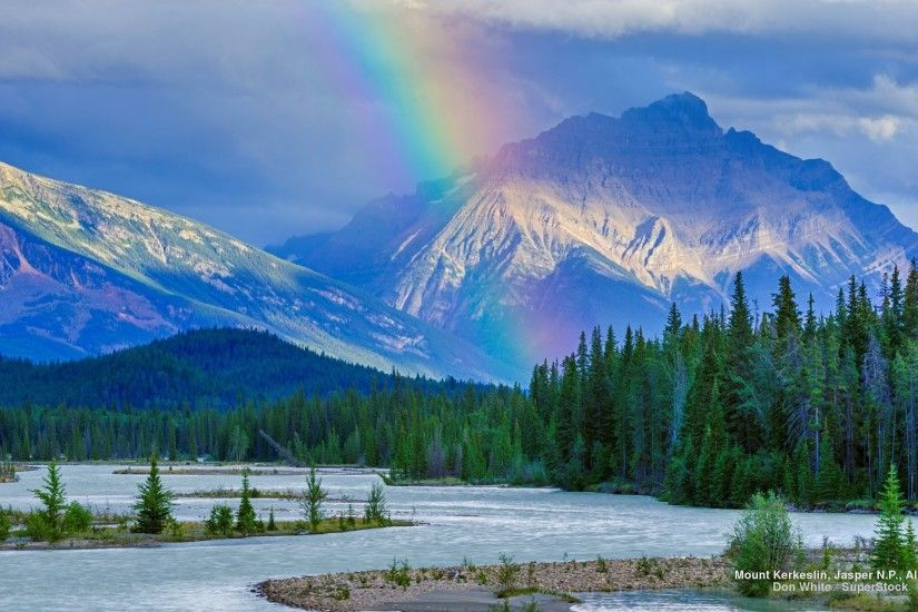 Nature Rainbow Landscape Snow Trees Rainbows Mountains Canadian Mountain  Background Pictures