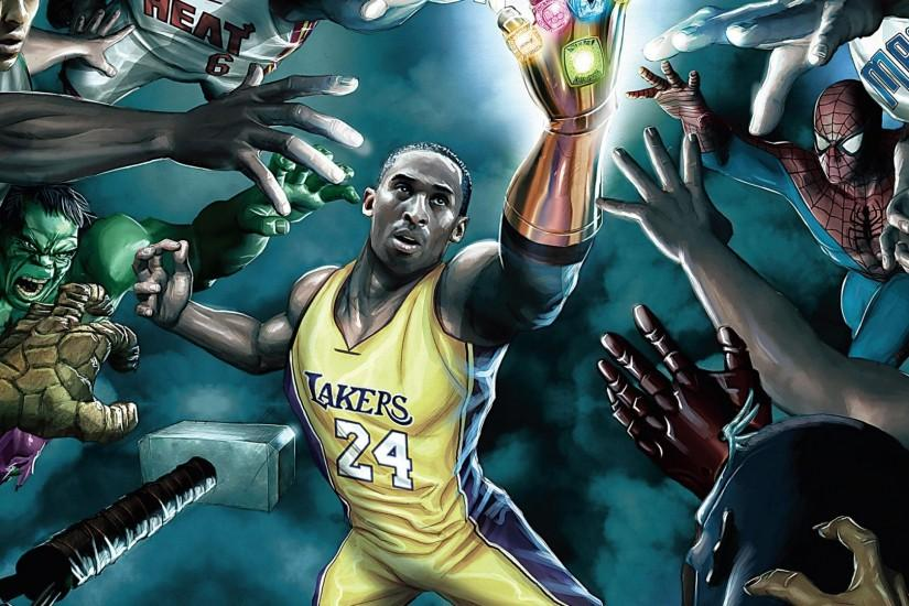 Download NBA players vs. superheroes wallpaper