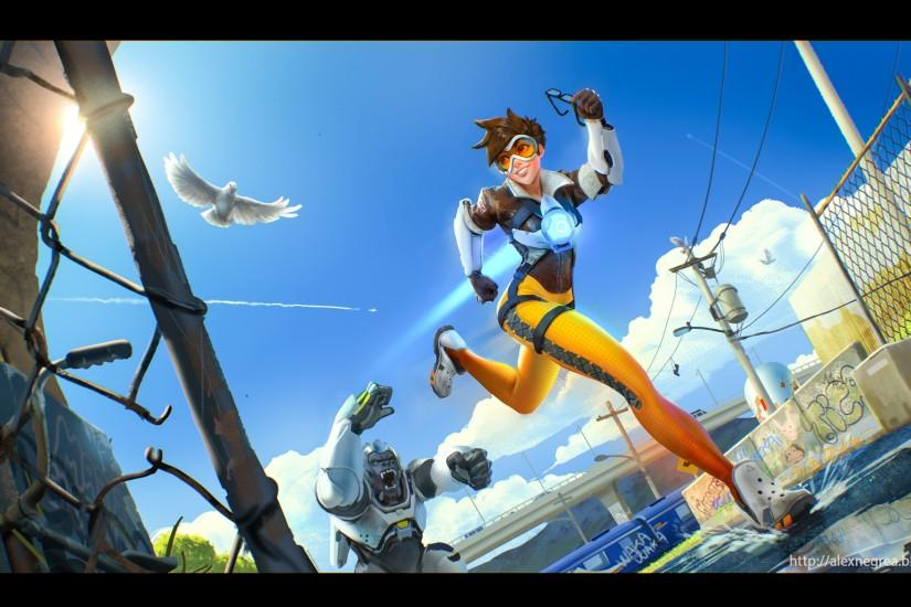 widescreen overwatch tracer wallpaper 3840x2160