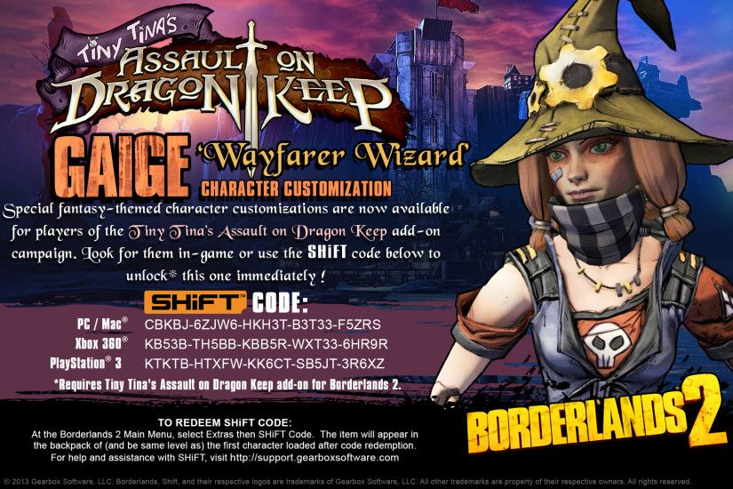 Borderlands 2 'Dragon Keep Heads' SHiFT Codes