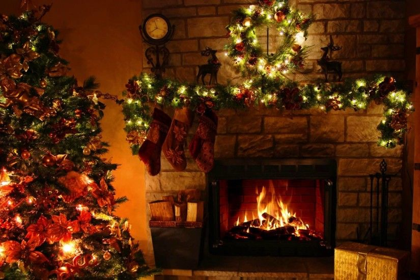 Christmas Tree And Fireplace Background (07)