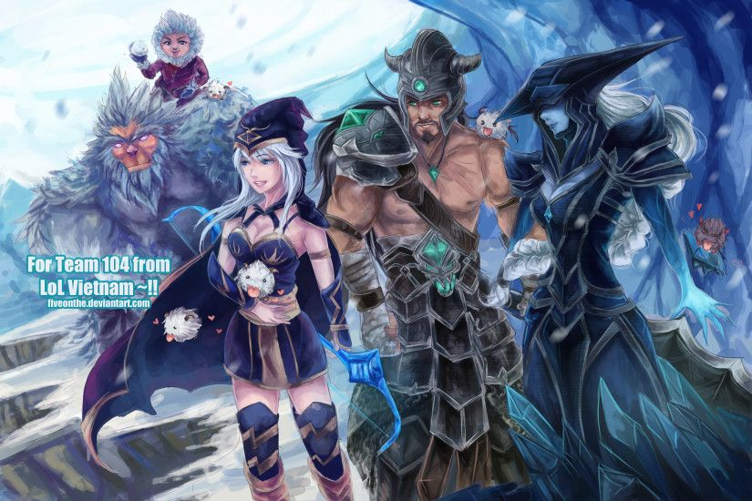 Tryndamere, Ashe, Lissandra, Nunu & Poro by Fiveonthe HD Wallpaper Fan Art  Artwork