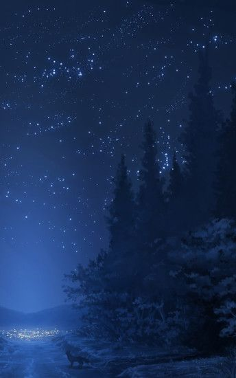 Anime Landscape, Forest, Night, Stars, Wolf