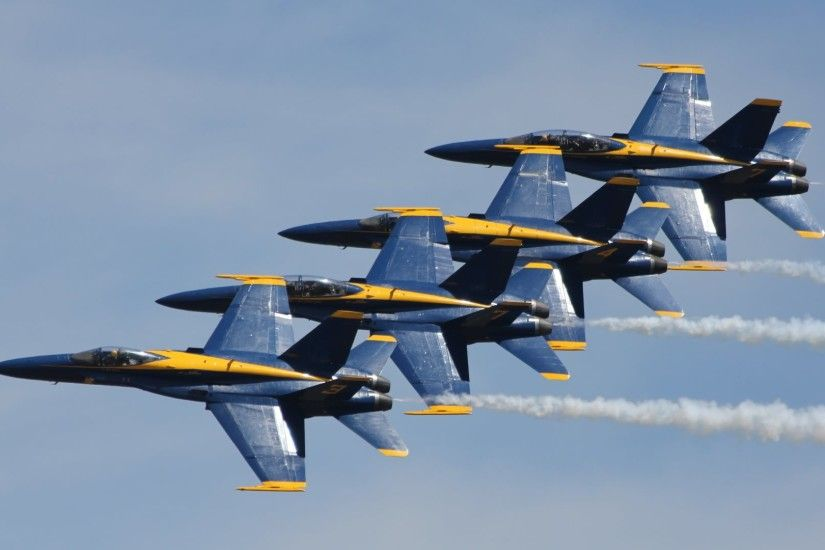 4K HD Wallpaper: Air Show with Blue Angels F-18 Squadron