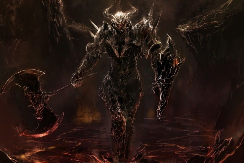 knight, Warrior, Artwork, Fantasy art, Dark, Lava, Death, Medieval