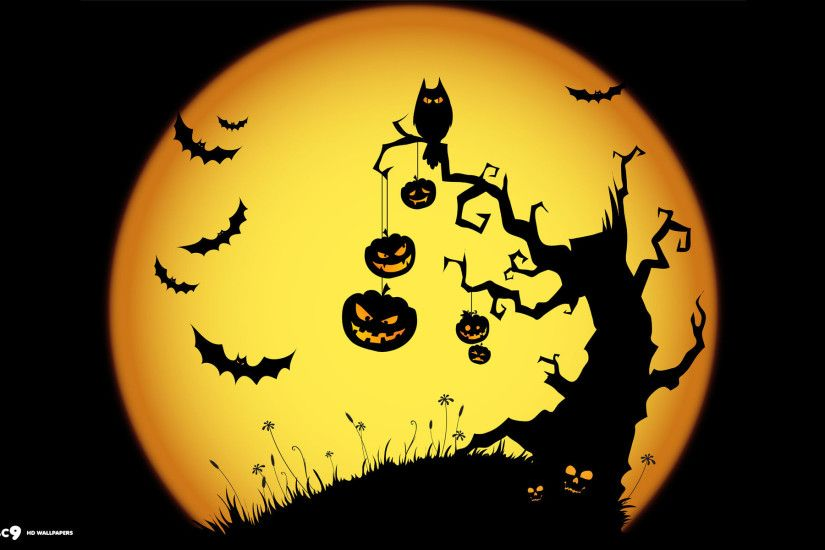 halloween scary night owl bats jack o lanterns tree yellow holiday desktop  background