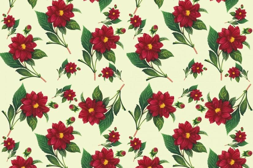 Floral Wallpaper Seamless Pattern Dahlia Flower Vintage ...