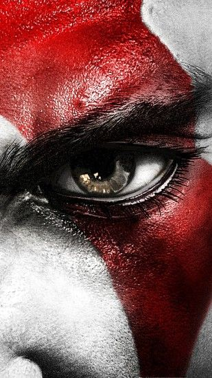 1080x1920 Wallpaper kratos, god of war, face, eyes, scar