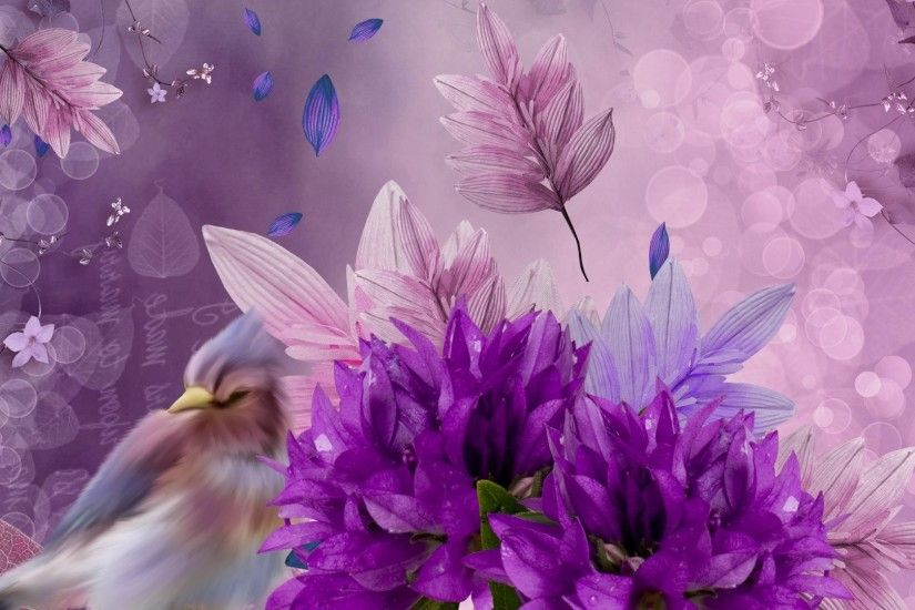 Bird Leaves Firefox Persona Flowers Lavender Bokeh Drama Purple Themes  Wallpapers