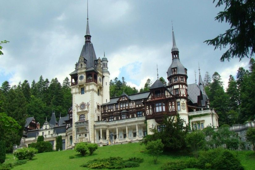 Download now full hd wallpaper peles castle front view gothic romania ...