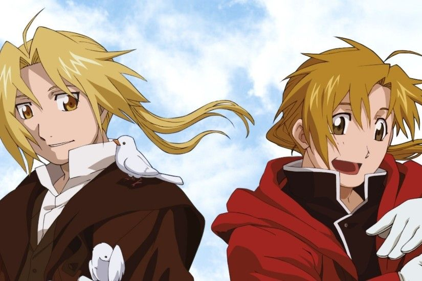 Preview wallpaper fullmetal alchemist, edward, alphonse, boys, blondes,  pigeons, smiles