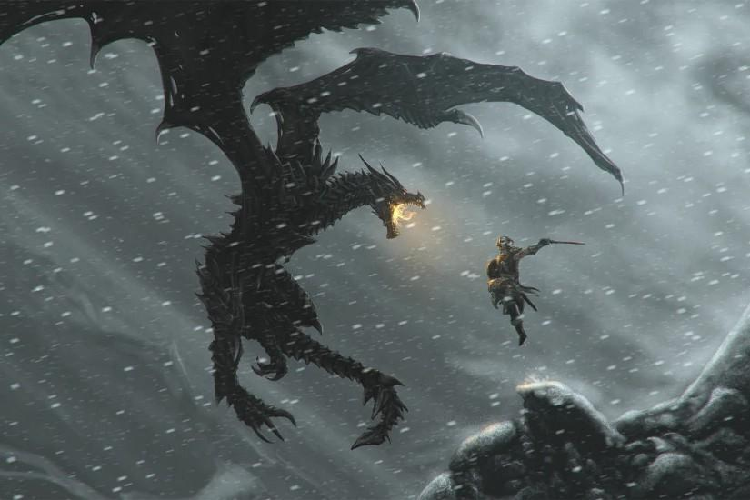Wallpapers For > Skyrim Dragon Wallpaper 1366x768