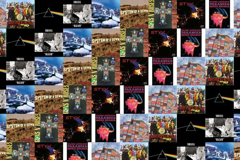 Download this free wallpaper with images of Radiohead – Hail To The Thief,  The Beatles – Sgt Peppers Lonely, Pink Floyd – The Dark Side Of The Moon,  ...