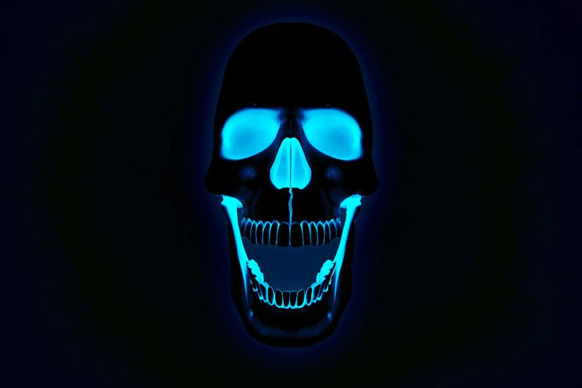 hd pics photos neon 3d skull x ray blue desktop background wallpaper