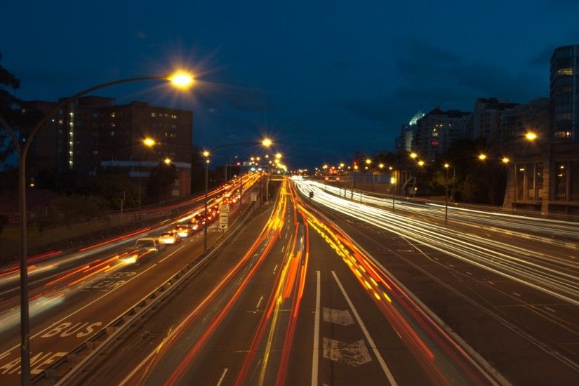 3840x2160 Wallpaper road, night, traffic, city lights, speed