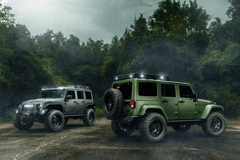Jeep, wrangler, off road, rain, cars, green, black wallpaper (