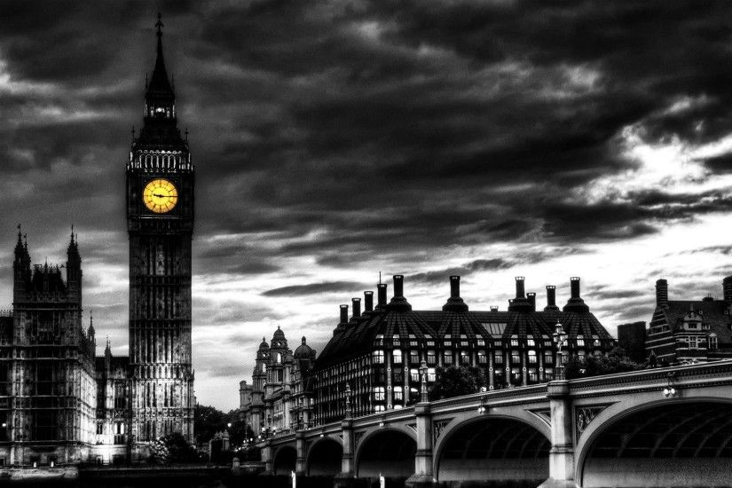 London Big Ben Black and White HD Wallpaper