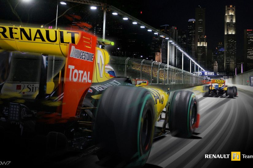 renault formula 1 cars in singapore wallpaper