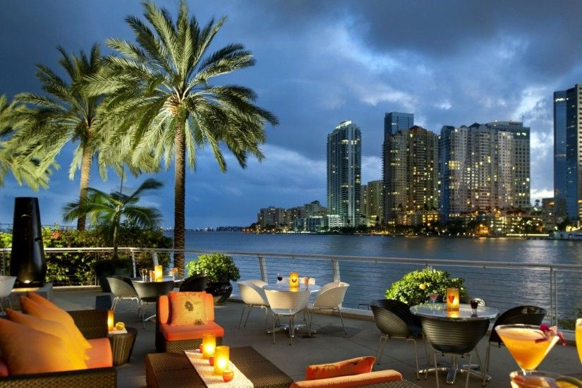 Preview wallpaper miami, florida, usa, city, ocean, bay, coffee,