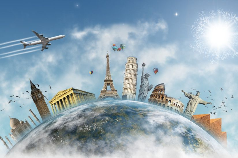 Artistic - Travel Earth Airplane Sun Big Ben Eiffel Tower Statue of Liberty  Pyramid Parthenon Colosseum