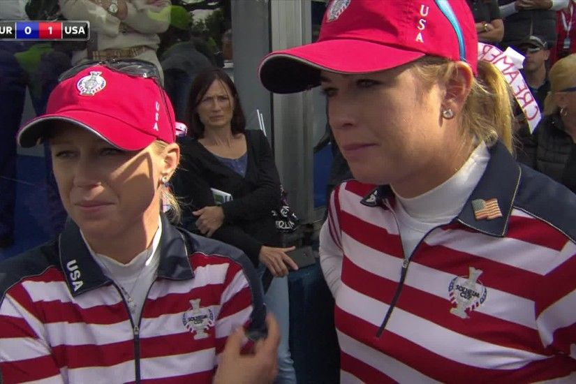 Morgan Pressel and Paula Creamer took the first point of the 2015 Solheim  Cup as they beat Europe's Anna Nordqvist and Suzanne Pettersen 3&2