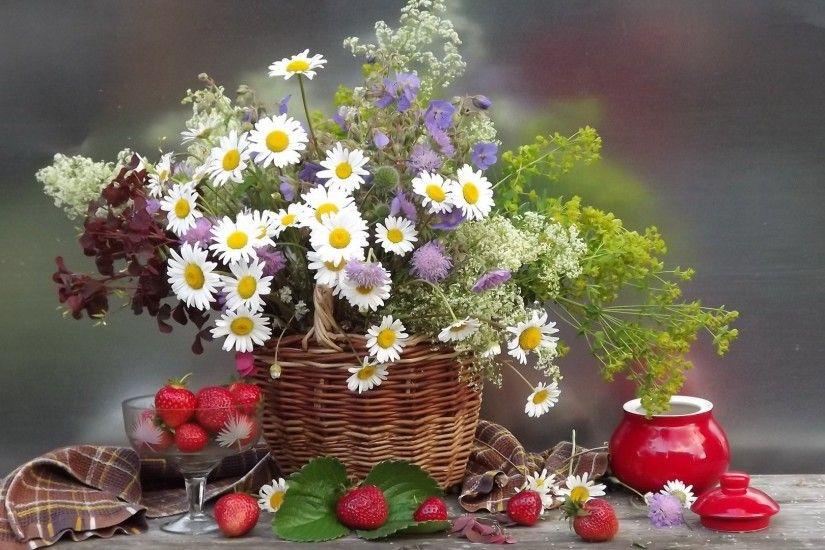 chamomile flower flower bouquet shopping basket strawberry berries nature  summer