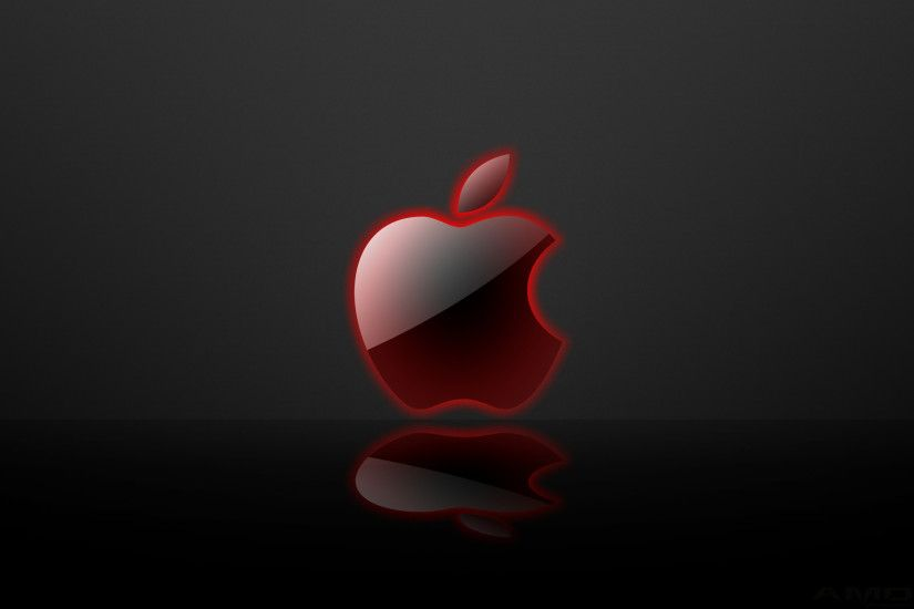 apple glass mirror red wallpaper