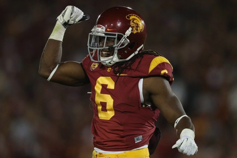 Safety Josh Shaw of the USC Trojans celebrates against the Stanford  Cardinal at Los Angeles Coliseum