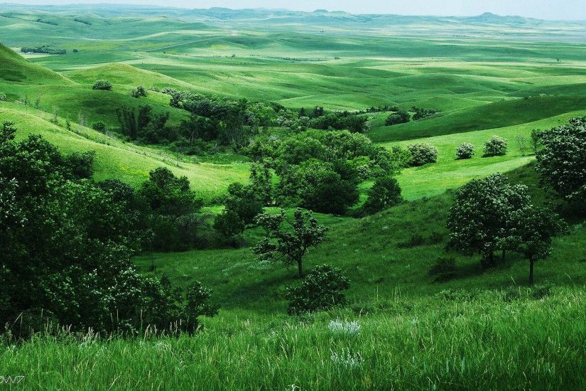 green hills in the valley wallpaper
