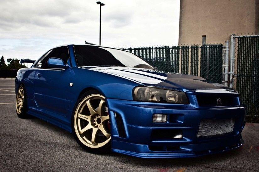 ... nissan skyline gtr r34 blue car side view 4k ultra hd wallpaper ...