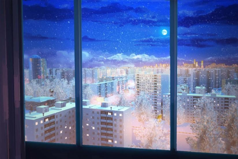 anime winter city