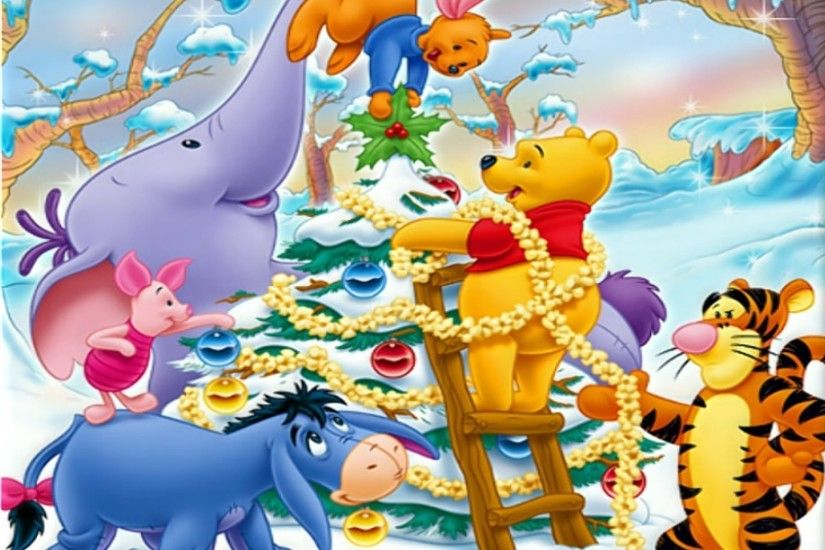 winnie the pooh christmas | Winnie The Pooh Christmas Decorating Wallpaper  with 1920x1440 .