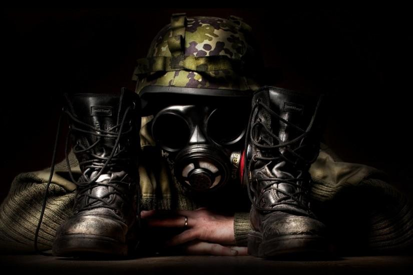 Preview wallpaper camouflage, mask, shoes, creative, military 1920x1080