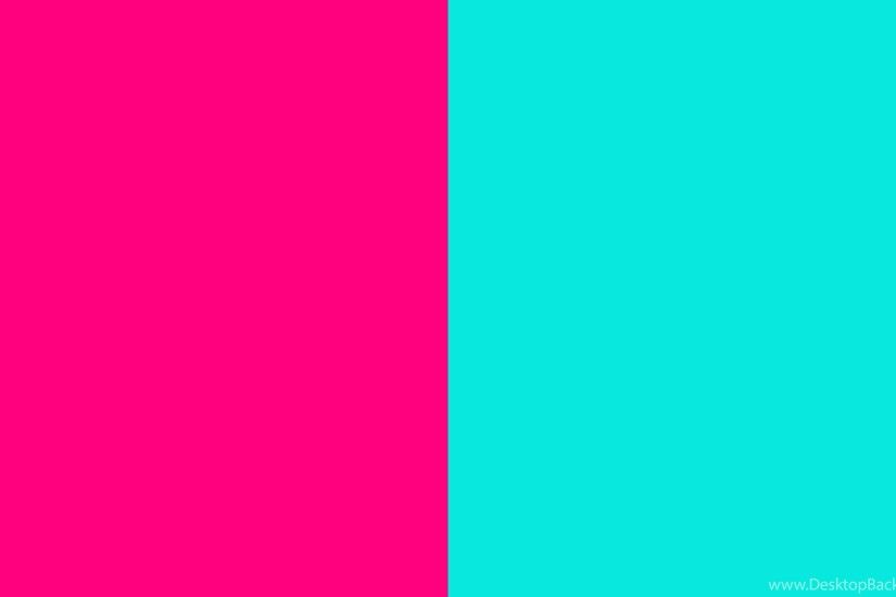 2560x1440 Bright Pink And Bright Turquoise Two Color Backgrounds