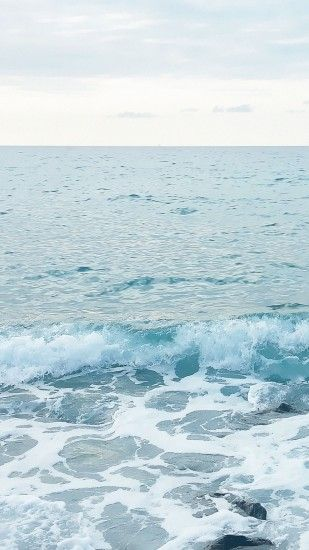 Blue Ocean Waves Sea Foam iPhone 6+ HD Wallpaper ...