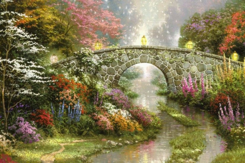 stillwater bridge thomas kinkade painting beautiful nature bridge flowers  lamps magic thomas kinkade painting beautiful nature