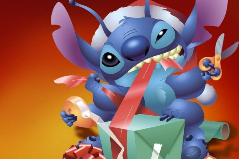 1920x1080 Wallpaper new year, christmas, gift, stich