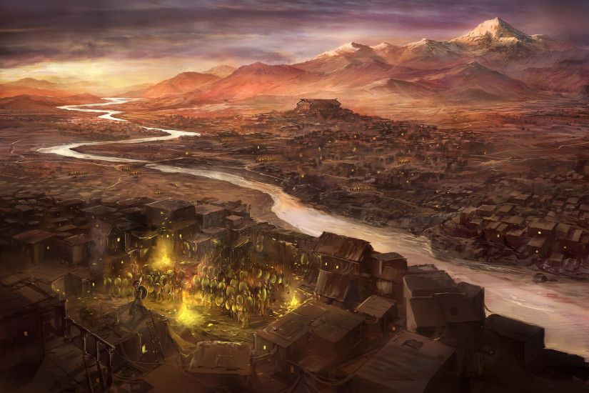 Fantasy - City Sparta Greece Painting Fantasy History Warrior Wallpaper