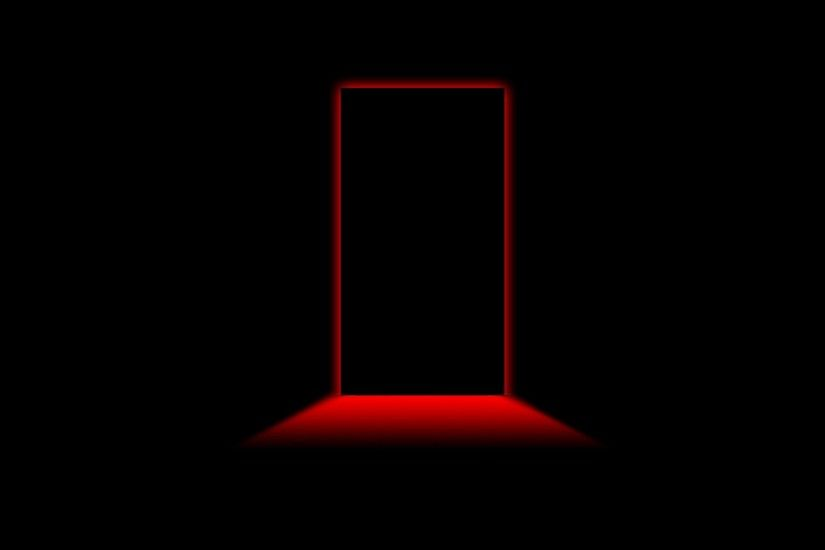 Black Background Creepy Doors Minimalistic Red Light ...