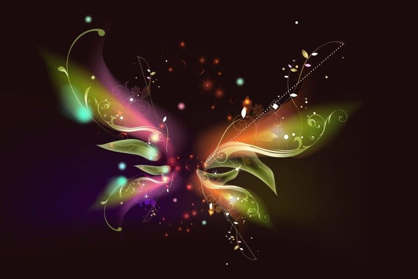 Animated Flying Decorative Butterfly On Black Background With