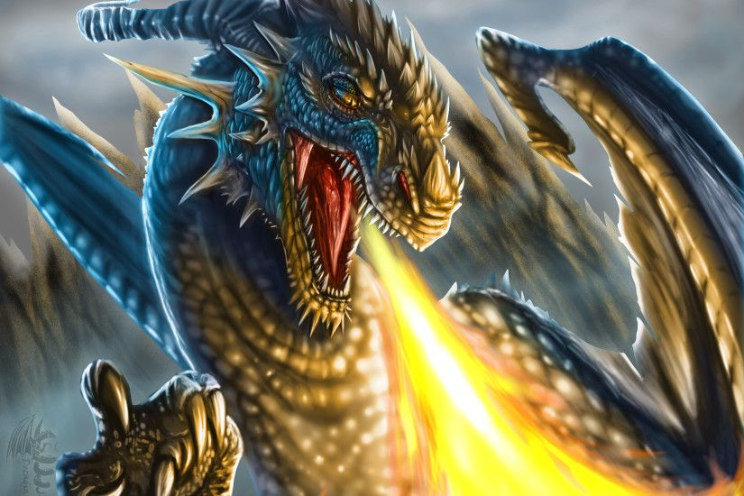 Angry Fire Breath Dragon wallpaper :: Download to mobile phone.