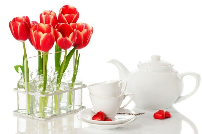 Tulip flower pot and tea kittle good morning wishes wallpapers and  backgrounds