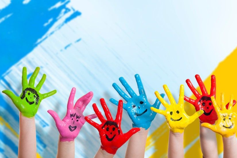 2560x1600 Wallpaper hands, paint, children, happiness, positive, smile